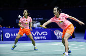 Ma Jin and Tang Yuanting of China competes against Vu Thi Trang and Nguyen Thi Sen of Thailand on day three of 2015 Sudirman Cup BWF World Mixed Team...