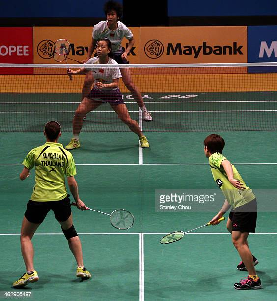 Ma Jin and Tang Yuanting of China in action against Duanguang Aroonkesorn and Kunchala Voravichitchaikul of Thailand during day three of the Women's...