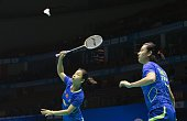 Ma Jin and Tang Yuanting of China return to Vivian Kah Mun Hoo and Khe Wei Woon of Malaysia during their women's doubles quarter final match of the...