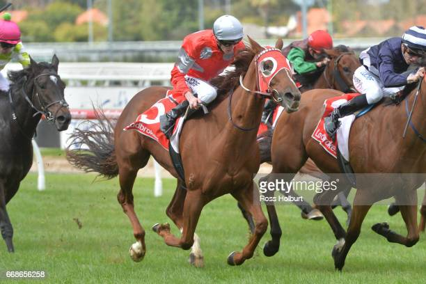 Ma Jones ridden by Ben Allen wins the Jack Elliott Handicap at Caulfield Racecourse on April 15 2017 in Caulfield Australia