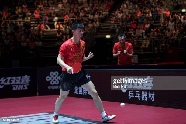 Ma Long of China celebrates after winning Men's eightfinals at Table Tennis World Championship at Messe Duesseldorf on June 3 2017 in Dusseldorf...