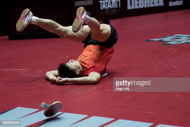 Ma Long of China celebrates after winning Men's Singles Final at Table Tennis World Championship at Messe Duesseldorf on June 5 2017 in Dusseldorf...