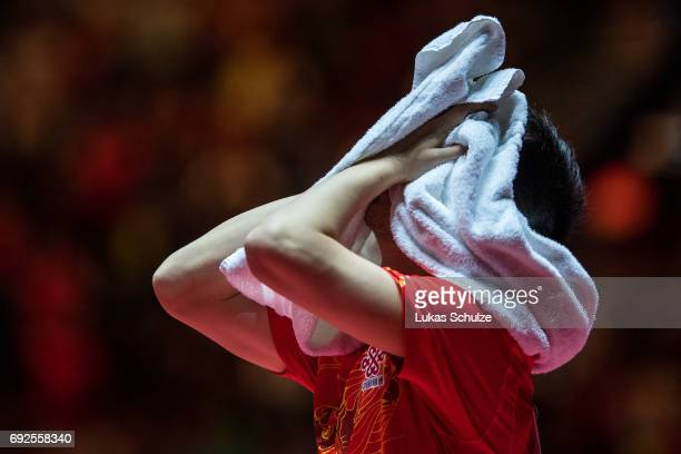 Ma Long of China celebrates after winning the Men's Singles Final match of the Table Tennis World Championship at Messe Duesseldorf on June 5 2017 in...