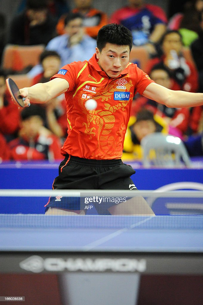 Ma Long of China competes during the men's singles Final table tennis match of the ITTF Korea Open in Incheon on April 7, 2013.