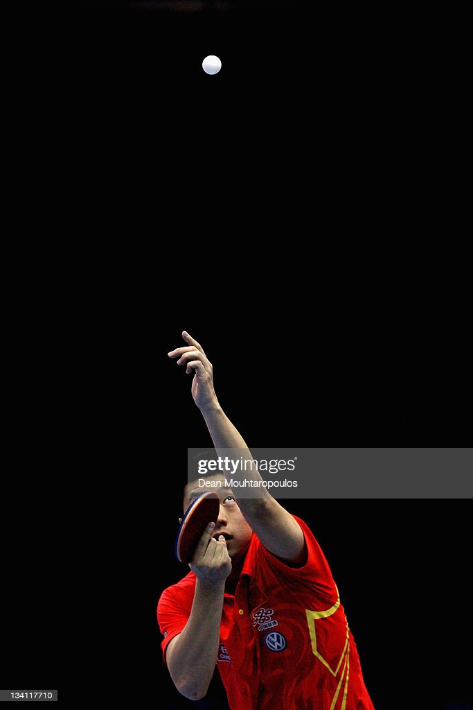 <a gi-track='captionPersonalityLinkClicked' href=/galleries/search?phrase=Ma+Long&family=editorial&specificpeople=2158981 ng-click='$event.stopPropagation()'>Ma Long</a> of China in action against Chih-Yuan Chuang of Chinese Taipei during the Mens Singles Quarter Finals match during day three of the ITTF Pro Tour Table Tennis Grand Finals at ExCel on November 26, 2011 in London, England.