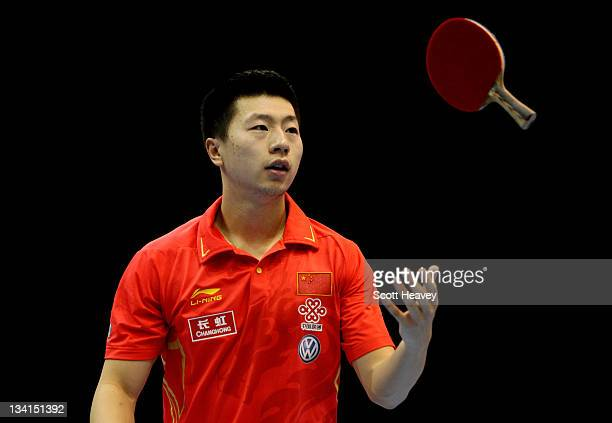 Ma Long of China in action against Wang Hao during the Men's Singles Semi Final match during day four of the ITTF Pro Tour Table Tennis Grand Finals...