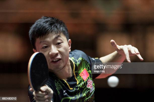 Ma Long of China in action during Men's Singles Semifinal at Table Tennis World Championship at Messe Duesseldorf on June 5 2017 in Dusseldorf Germany