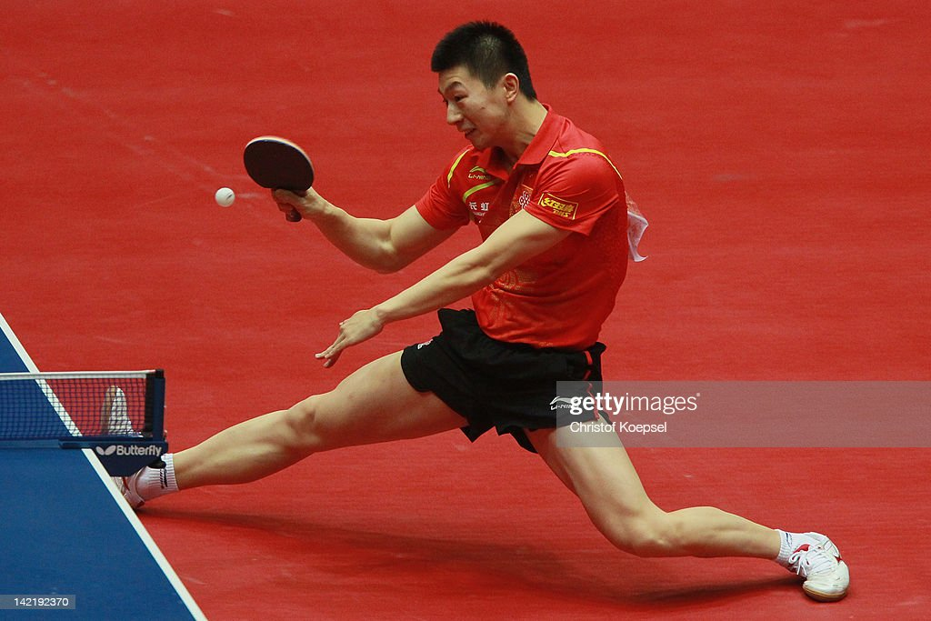 <a gi-track='captionPersonalityLinkClicked' href=/galleries/search?phrase=Ma+Long&family=editorial&specificpeople=2158981 ng-click='$event.stopPropagation()'>Ma Long</a> of China plays a forehand during his match against Oh Sang Eun of South Korea during the LIEBHERR table tennis team world cup 2012 championship division men's semi -final match between China and South Korea at Westfalenhalle on March 31, 2012 in Dortmund, Germany.