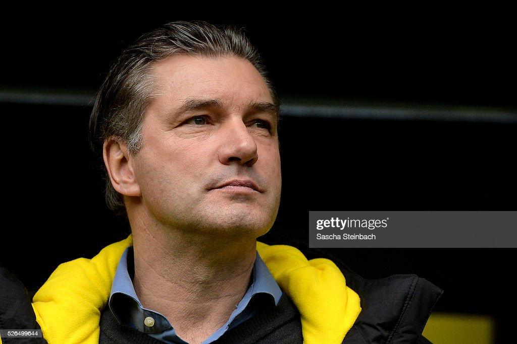 ma Michael Zorc of Dortmund looks on prior to the Bundesliga match between Borussia Dortmund and VfL Wolfsburg at Signal Iduna Park on April 29, 2016 in Dortmund, Germany.