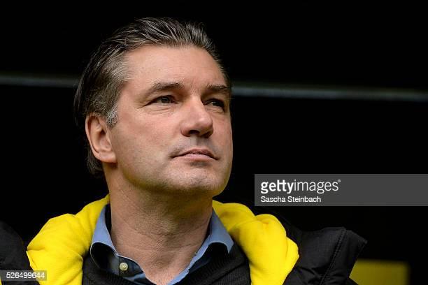 ma Michael Zorc of Dortmund looks on prior to the Bundesliga match between Borussia Dortmund and VfL Wolfsburg at Signal Iduna Park on April 29 2016...