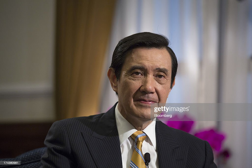 Ma Ying-jeou, Taiwan's president, pauses during an interview in the presidential palace in Taipei, Taiwan, on Thursday, July 25, 2013. Ma ruled out driving down the Taiwan dollar to boost exports following the currencys rally against the yen and said the government still aims for growth of at least 2 percent this year. Photographer: Jerome Favre/Bloomberg via Getty Images