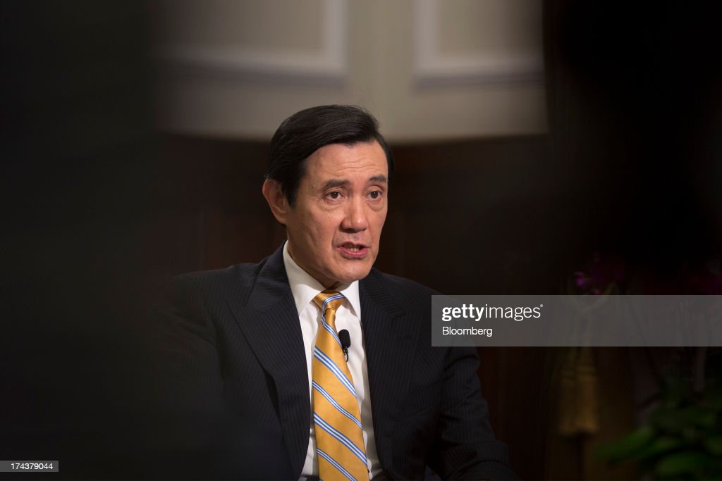 Ma Ying-jeou, Taiwan's president, reacts during an interview in the presidential palace in Taipei, Taiwan, on Thursday, July 25, 2013. Ma ruled out driving down the Taiwan dollar to boost exports following the currencys rally against the yen and said the government still aims for growth of at least 2 percent this year. Photographer: Jerome Favre/Bloomberg via Getty Images