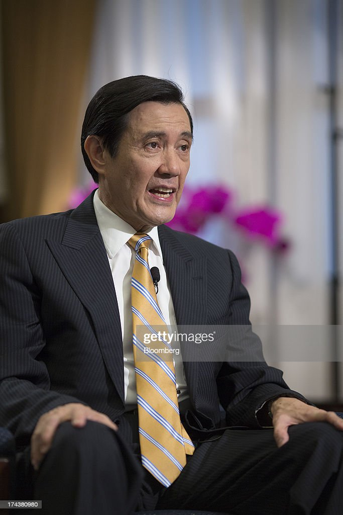 Ma Ying-jeou, Taiwan's president, speaks during an interview in the presidential palace in Taipei, Taiwan, on Thursday, July 25, 2013. Ma ruled out driving down the Taiwan dollar to boost exports following the currencys rally against the yen and said the government still aims for growth of at least 2 percent this year. Photographer: Jerome Favre/Bloomberg via Getty Images
