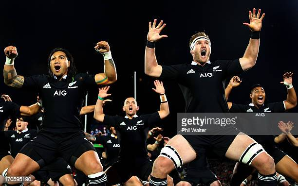 Ma'a Nonu and Kieran Read of the All Blacks perform the haka during the International Test match between the New Zealand All Blacks and France at AMI...