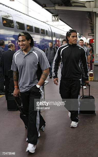 Ma'a Nonu and Rodney So'oialo of the All Blacks arrive at Lyon Part Dieu after a trip on the TGV high speed train from Marseille November 09 2006 in...