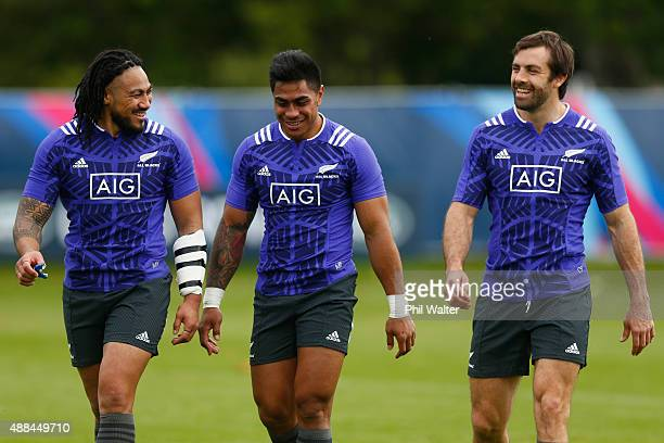 Maa Nonu Malakai Fekitoa and Conrad Smith of the All Blacks during a New Zealand All Blacks training session at Lensbury on September 16 2015 in...