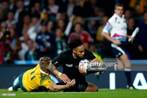 Ma'a Nonu of New Zealand scores his team's second try during the 2015 Rugby World Cup Final match between New Zealand and Australia at Twickenham...