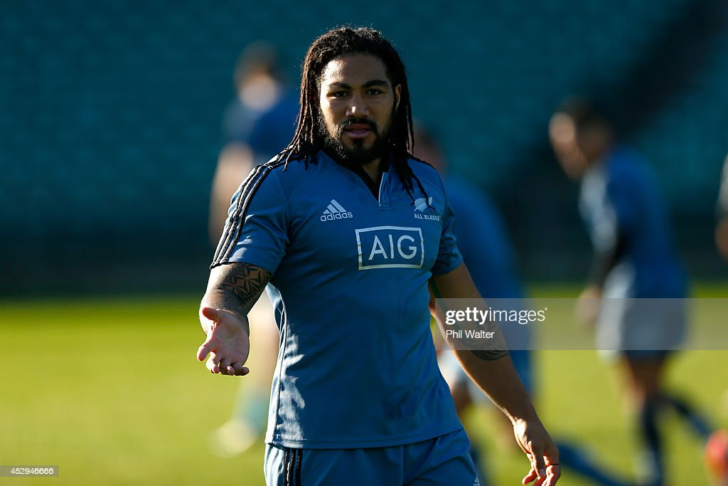 <a gi-track='captionPersonalityLinkClicked' href=/galleries/search?phrase=Ma%27a+Nonu&family=editorial&specificpeople=224641 ng-click='$event.stopPropagation()'>Ma'a Nonu</a> of the All Blacks during a New Zealand All Blacks training session at North Harbour Stadium on July 31, 2014 in Auckland, New Zealand.