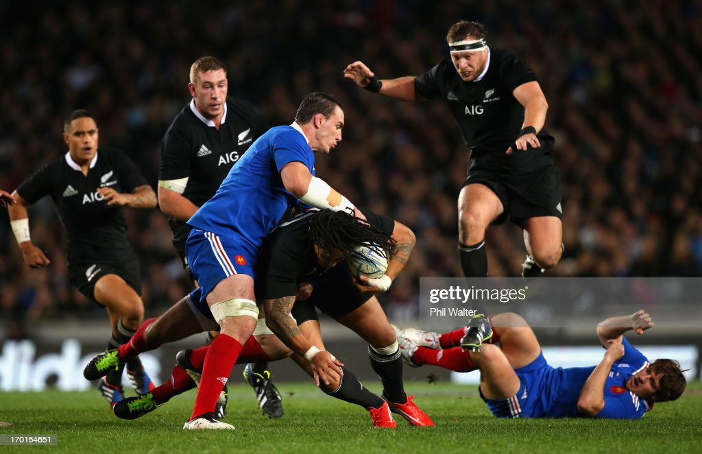 <a gi-track='captionPersonalityLinkClicked' href=/galleries/search?phrase=Ma%27a+Nonu&family=editorial&specificpeople=224641 ng-click='$event.stopPropagation()'>Ma'a Nonu</a> of the All Blacks is tackled by <a gi-track='captionPersonalityLinkClicked' href=/galleries/search?phrase=Louis+Picamoles&family=editorial&specificpeople=4877126 ng-click='$event.stopPropagation()'>Louis Picamoles</a> of France during the first test match between the New Zealand All Blacks and France at Eden Park on June 8, 2013 in Auckland, New Zealand.