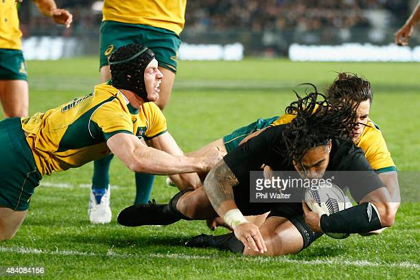 Ma'a Nonu of the All Blacks scores a try during The Rugby Championship Bledisloe Cup match between the New Zealand All Blacks and the Australian...