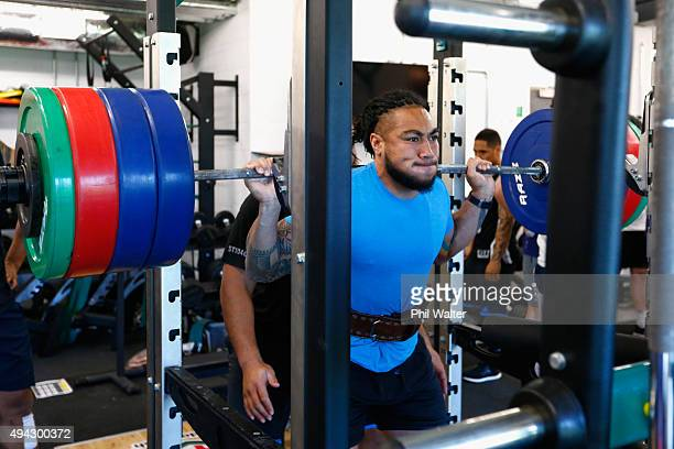Maa Nonu of the All Blacks squats during a New Zealand All Blacks training session at London Irish on October 26 2015 in Bagshot United Kingdom