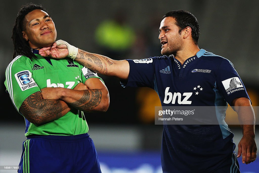 Ma'a Nonu of the Highlanders jokes around with Piri Weepu of the Blues following the round eight Super Rugby match between the Blues and the Highlanders at Eden Park on April 5, 2013 in Auckland, New Zealand.