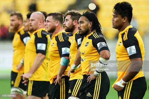 Ma'a Nonu of the Hurricanes and teammates look on in disappointment after a Waratahs try during the round 10 Super Rugby match between the Hurricanes...