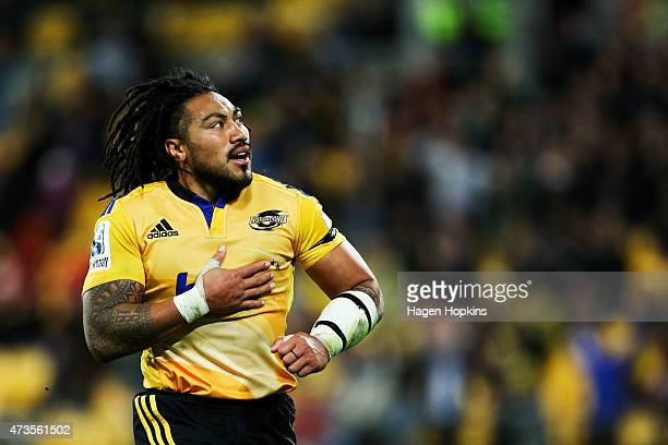 Ma'a Nonu of the Hurricanes celebrates after scoring a try during the round 14 Super Rugby match between the Hurricanes and the Chiefs at Westpac...
