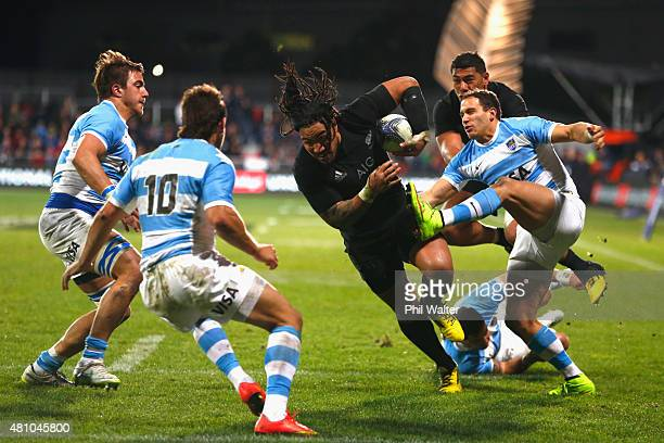 Ma'a Nonu of the New Zealand All Blacks powers in for a try during The Rugby Championship match between the New Zealand All Blacks and Argentina at...