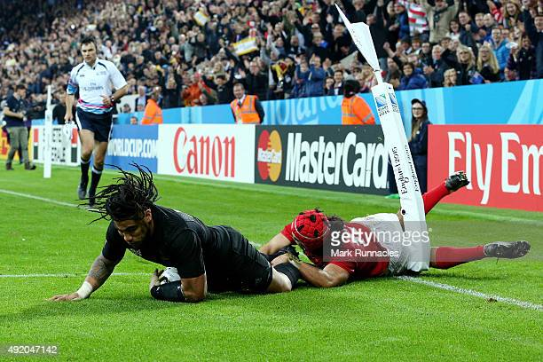 Ma'a Nonu of the New Zealand All Blacks scores their seventh try during the 2015 Rugby World Cup Pool C match between New Zealand and Tonga at St...