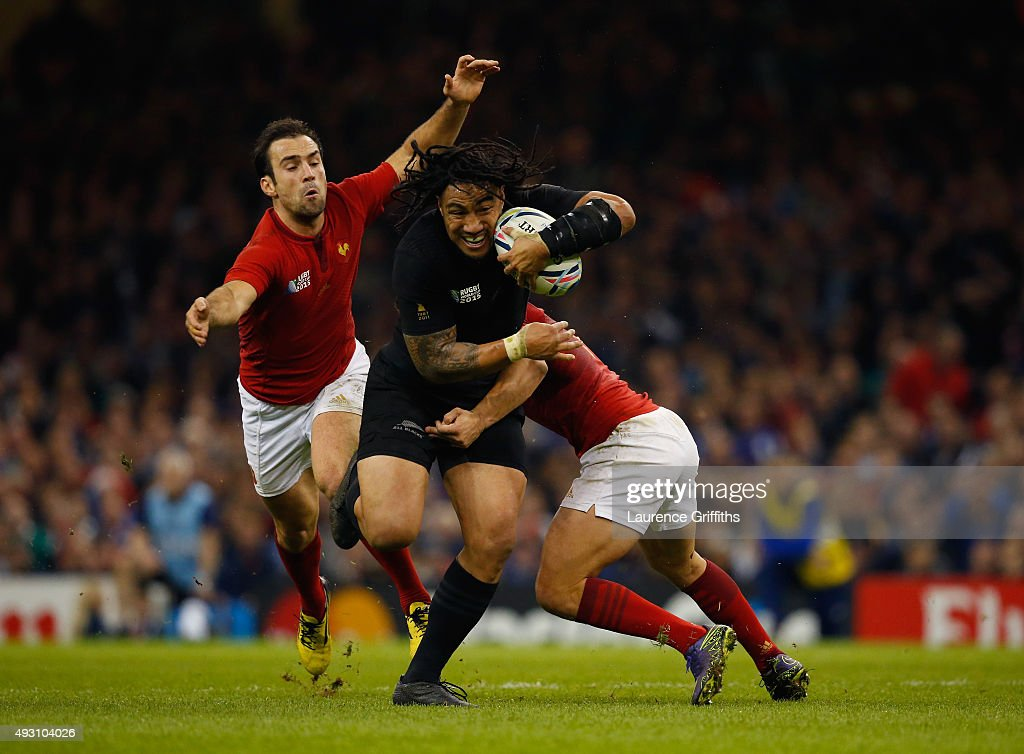 Ma'a Nonu of the New Zealand All Blacks takes on Brice Dulin of France and Morgan Parra of France during the 2015 Rugby World Cup Quarter Final match between New Zealand and France at the Millennium Stadium on October 17, 2015 in Cardiff, United Kingdom.