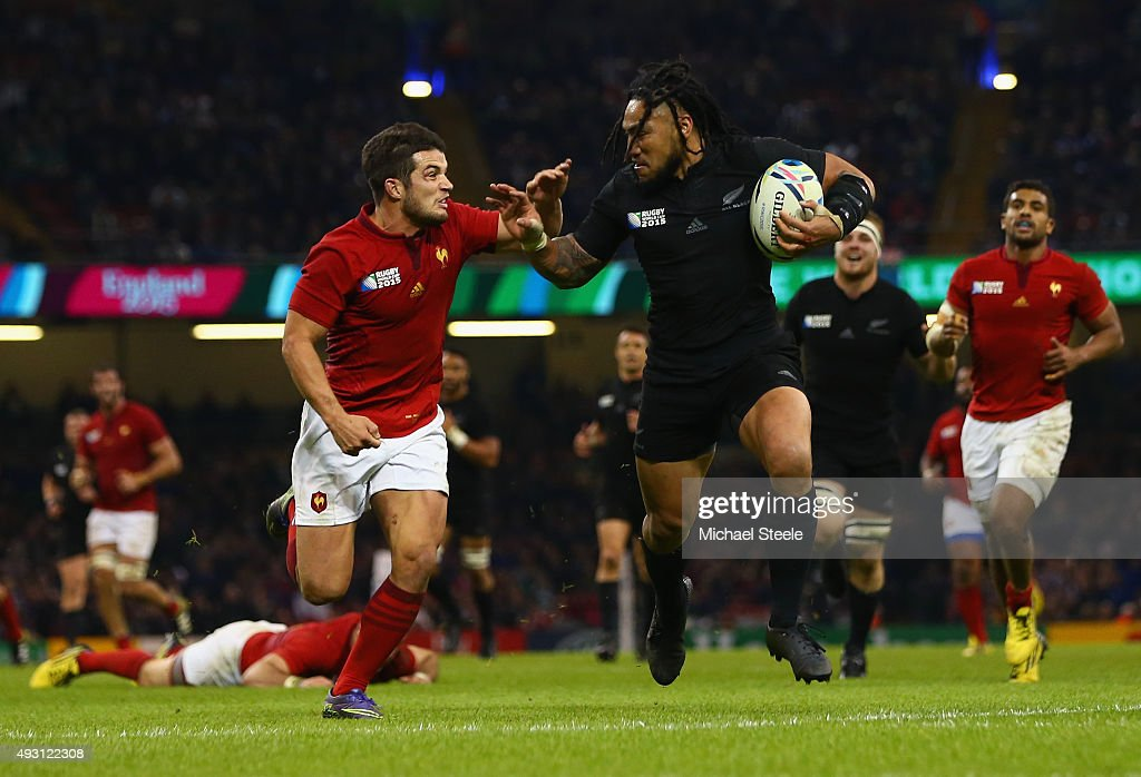 <a gi-track='captionPersonalityLinkClicked' href=/galleries/search?phrase=Ma%27a+Nonu&family=editorial&specificpeople=224641 ng-click='$event.stopPropagation()'>Ma'a Nonu</a> of the New Zealand All Blacks tries to hand off <a gi-track='captionPersonalityLinkClicked' href=/galleries/search?phrase=Brice+Dulin&family=editorial&specificpeople=7045962 ng-click='$event.stopPropagation()'>Brice Dulin</a> of France during the 2015 Rugby World Cup Quarter Final match between New Zealand and France at the Millennium Stadium on October 17, 2015 in Cardiff, United Kingdom.