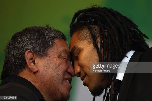 Ma'a Nonu receives a traditional Maori hongi during the official IRB Rugby World Cup 2011 New Zealand All Blacks team welcome ceremony at Aotea...