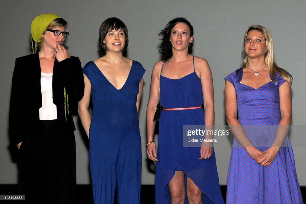 Maaike Neuville, Eline Kuppens, Marieke Dilles and Ellen Schoeters attend the Antwerp premiere of 'Weekend At The Sea' (Weekend Aan Zee) at Metropolis on April 18, 2012 in Antwerpen, Belgium.