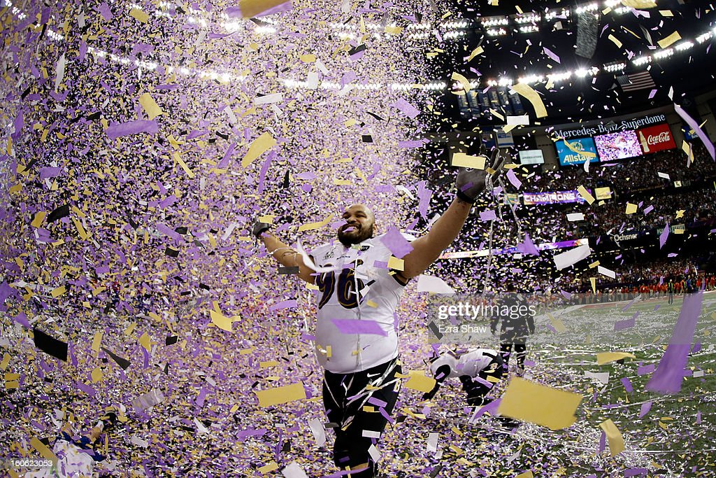Ma'ake Kemoeatu of the Baltimore Ravens celebrates after defeating the San Francisco 49ers during Super Bowl XLVII at the MercedesBenz Superdome on...
