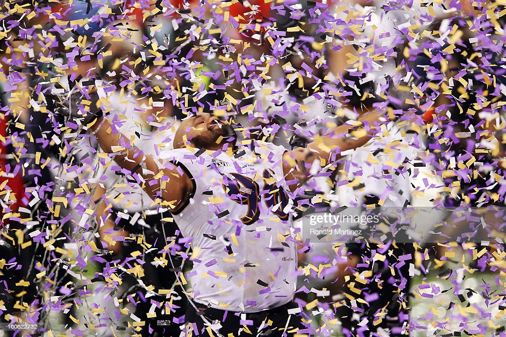 Ma'ake Kemoeatu of the Baltimore Ravens celebrates after the Ravens won 3431 against the San Francisco 49ers during Super Bowl XLVII at the...