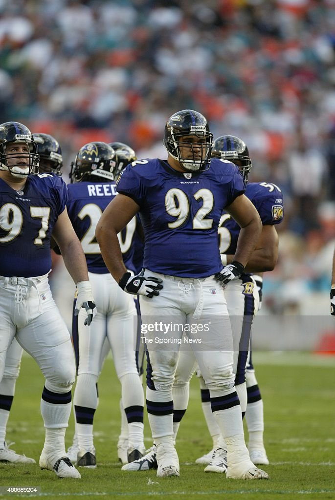 Ma'ake Kemoeatu of the Baltimore Ravens looks on from the field during a game against the Miami Dolphins on November 17 2002 at the Pro Player...