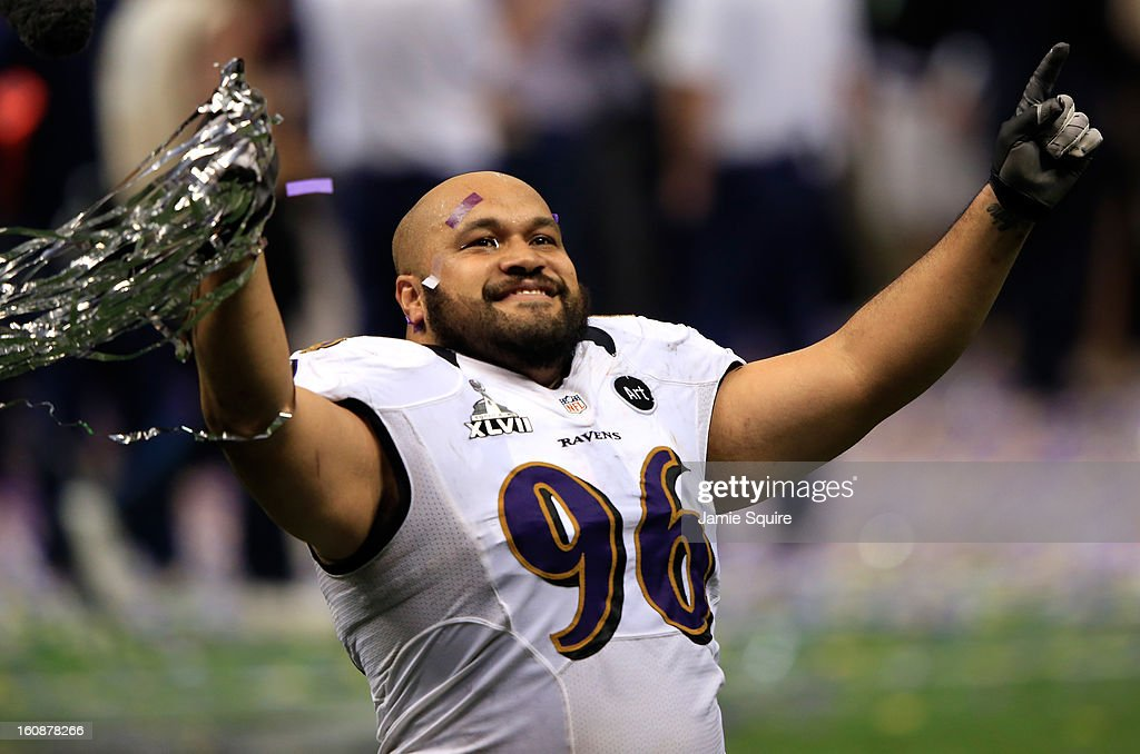 Ma'ake Kemoeatu of the Baltimore Ravens reacts after the Ravens won 3431 against the San Francisco 49ers during Super Bowl XLVII at the MercedesBenz...
