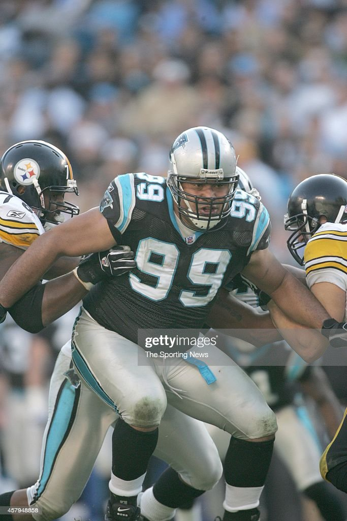 Ma'ake Kemoeatu of the Carolina Panthers gets tackled during a game against the Pittsburgh Steelers on December 17 2006 at the Bank of America...