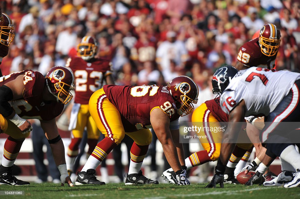 Ma'ake Kemoeatu of the Washington Redskins defends against the Houston Texans at FedExField on September 19 2010 in Landover Maryland The Texans...