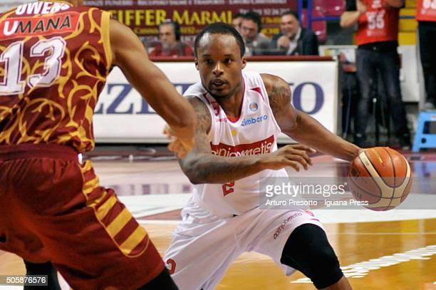 Maalik Wayns of Openjobmetis competes with Josh Owens of Umana during the match of LegaBasket between Reyer Umana Venezia and Openjobmetis Varese at...
