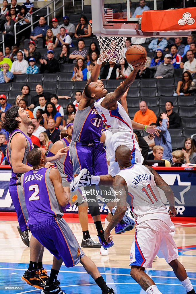 Maalik Wayns #2 of the Los Angeles Clippers shoots a layup against Markieff Morris #11 of the Phoenix Suns at Staples Center on April 3, 2013 in Los Angeles, California.