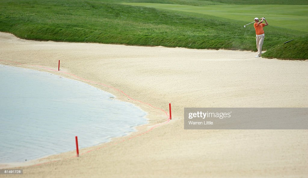 Maarten Lafeber of the Nertherlands plays his second shot into the 18th green during the third round of the 2008 Bank Austria GolfOpen presented by Telekom Austria, at Fontana Golf Club on June 8, 2008 in Vienna, Austria.