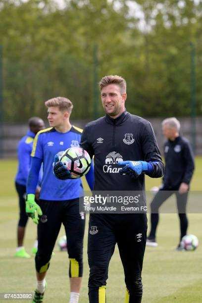 Maarten Stekelenburg during the Everton FC training session at USM Finch Farm on April 28 2017 in Halewood England