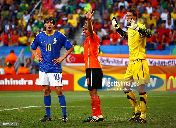 Maarten Stekelenburg Nigel De Jong of the Netherlands and Kaka of Brazil prepare for a corner kick during the 2010 FIFA World Cup South Africa...