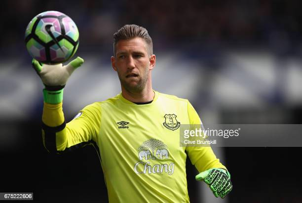 Maarten Stekelenburg of Everton in action during the Premier League match between Everton and Chelsea at Goodison Park on April 30 2017 in Liverpool...