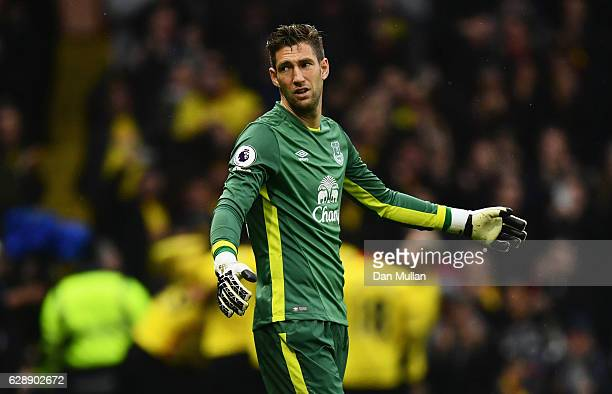 Maarten Stekelenburg of Everton reacts as Stefano Okaka of Watford scores their third goal during the Premier League match between Watford and...