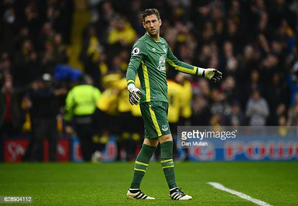 Maarten Stekelenburg of Everton reacts as Stefano Okaka of Watford scores their third goal during the Premier League match between Watford and...