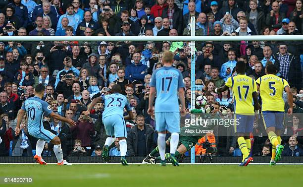 Maarten Stekelenburg of Everton saves Sergio Aguero of Manchester City penalty during the Premier League match between Manchester City and Everton at...