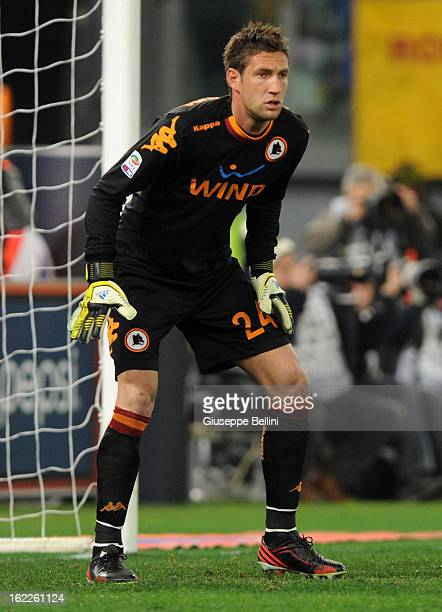 Maarten Stekelenburg of Roma in action during the Serie A match between AS Roma and Juventus FC at Stadio Olimpico on February 16 2013 in Rome Italy